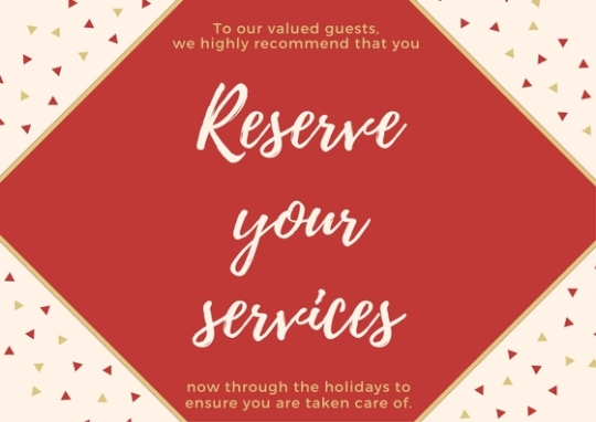 reserve holiday services